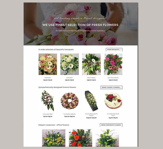 website designed for a online flowershop